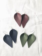 earrings Lot rustic Joanna Gaines style New 3 Pairs Statement faux leather leaf