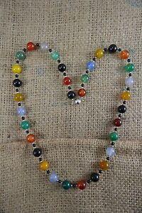 Semi-precious polished stone bead necklace carnelian chalcedony, onyx etc chunky