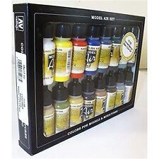 Av Vallejo Model Air Set - Basic Colors (x16) - Paint Acrylic Brush Assorted 16