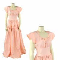 Vintage 40s Pink Taffeta Art Deco Long Sweep Evening Party Prom Princess Dress