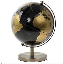 Black Gold World Globe Vintage Rotating Atlas Home Office Desk Ornament 18cm H