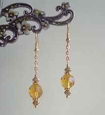 Pretty Golden Amber Crystal Vintage Styled Dangly Gold Plated Earrings