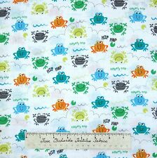 KIds Fabric - Frog Hop Toss White C2789 - Timeless Treasures YARD