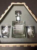 Star Wars Glass Whiskey Box Decanter Set Gift Darth Vader & Hans Solo - NEW