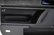 BLACK Stitch 2x FRONT DOOR CARD Trim pelle copre gli accoppiamenti VW Beetle 1998-2011