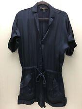 BCBG Maxazria Small Blue Satin Romper Button Down Short Sleeve Jumpsuit