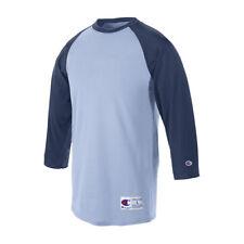 12f0355d Champion T137 Adult Baseball Raglan Sleeve Tee Light Blue & Navy Large