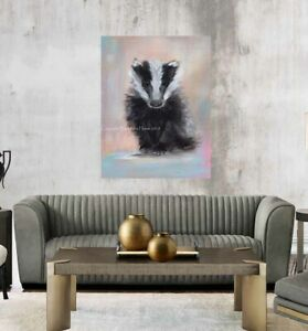 BABY BADGER, CHUNKY BOX CANVAS WRAPS FROM MY ART. WILDLIFE PAINTING WALL ARTWORK