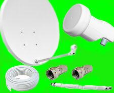80cm SAT Antenne Satellitenschüssel 10m Kabel Hellgrau Spiegel+LNB+Durchführung