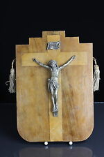Wandbild Jesus an Kreuz Holz Messing Inri