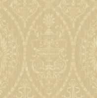 Victorian Damask Wallpaper Sand Cream Abstract Arts Crafts Samples Available