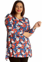 New Ladies Top Santa Christmas Xmas Print Novelty Plus Size Swing Dress Nouvelle