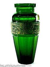 Ludwig MOSER Karlsbad Glas ° Glasvase ° Smaragdglas ° oroplastischer Dekor