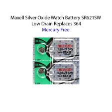 2 x MAXELL SR621SW 364 D364 602 1.55v Silver Oxide Watch Battery mercury free