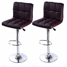 Set Of 2 PCS Adjustable Bar Stools PU Leather Barstools Swivel Pub Chairs Black