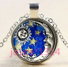 Vintage sun and moon Cabochon Tibetan silver Glass Chain Pendant Necklace #3359