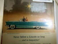 "Lincoln 1957 Magazine clippings advertisement Ad ""Never before Lincoln so long"""