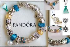 Authentic PANDORA Silver BRACELET Disney Ariel Dress Crown Shell Charm Beads