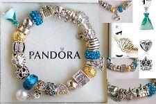 Authentic PANDORA Silver BRACELET Disney Ariel Dress Crown Shell Charm Beads