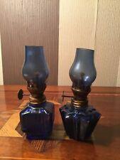 Vintage Miniature Blue Glass Oil Lamps