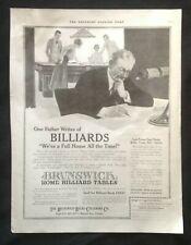 1917 VTG Magazine Print Ad ~ Brunswick Billiard Pool Tables ~ Wabash Ave Chicago