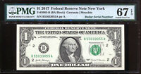 2017 $1 Federal Reserve Note Fancy BOOKEND RADAR Serial #B55033055A PMG 67EPQ
