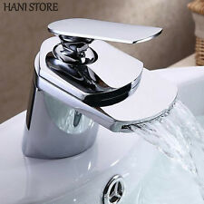 Chrome Bathroom Sink Faucets Contemporary Waterfall  Finish Single Hole