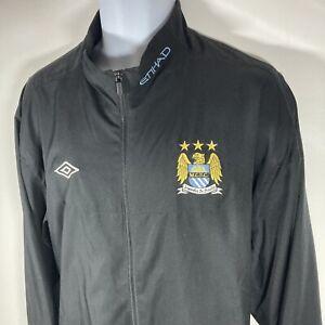 Manchester City Football Training Tracksuit Jacket Umbro Black Size Adults 3XL