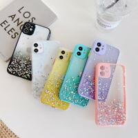 For iPhone 12 11 Pro Max XS XR 8 7 SE 2 Shockproof Glitter Clear Hard Case Cover