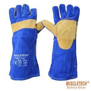 Muscletech Blue Welding Gloves With Kevlar Stitching 40cm Long Premium Quality