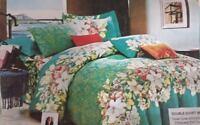 Blooming Summer Design Duvet Cover Bedding Set with Pillowcases, Green/White