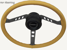 FITS MG TF MIDGET 53-55 REAL BEIGE LEATHER STEERING WHEEL COVER BEST QUALITY NEW