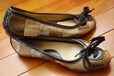Coach Gold Patchwork Laced Ballet Flats Shoe (6)