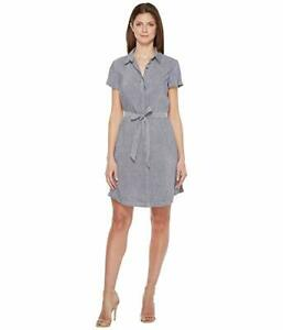 $499 Pendleton Women's Blue Aimee Chambray Stretch Short Sleeve Shirtdress 16