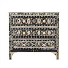Handmade Antique Bone Inlay Black Solid Wood 3 Drawer Cabinet Sideboard