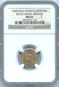New Caledonia 50 Centimes ESSAI 1948 KM E2 NGC MS 65