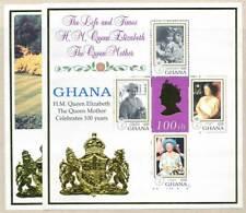 269489) Ghana Klbg. Nr.3022-5+Block 387** 99. Geb. Queen Mum