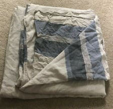 Hotel Collection Queen Duvet Cover Linen Stripe Indigo BLUE/BEIGE Gray Ties