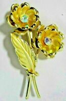 Vintage Costume Jewelry Brooch 2 Gold Tone Double Flowers Rhinestones