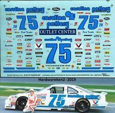 NASCAR DECAL #75 CAROLINA POTTERY 1993 FORD THUNDERBIRD DICK TRICKLE  SLIXX