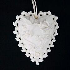 Margaret Furlong Hummingbird Bisque Christmas Heart Ornament 1999