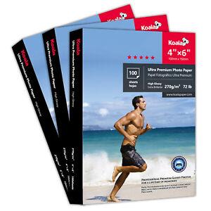 Koala 300 Sheets 4x6 Ultra Premium Glossy Inkjet Printer Photo Paper Epson HP