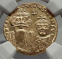 CONSTANS II Pagonatos & Constantine IV Gold Ancient Byzantine Coin NGC MS i58166