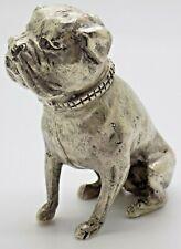 More details for vintage solid silver italian handmade large bulldog dog figurine stamped 800