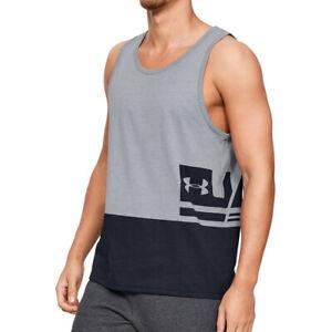 Under Armour UA HeatGear Sportstyle Tank Top Mens Grey Running Vest Size Large