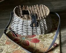 Antique Fishing Creel Wicker Basket Fly Fishing w/Leather Straps/Metal Hardware
