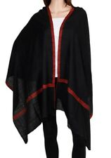 100% Cashmere Black Pashmina Red Embroidered inticate Border Luxury Royal Soft