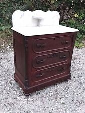 Victorian Eastlake Walnut carved Marble top commode cupboard washstand table