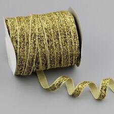 "5/30/200Yards 3/8""10mm Sparkle Glitter Velvet Ribbon Headband Clips Bows DIY"