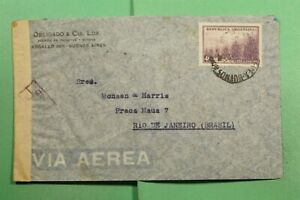 DR WHO 1943 ARGENTINA BUENOS AIRMAIL AIRMAIL TO BRAZIL WWII CENSORED  f74683